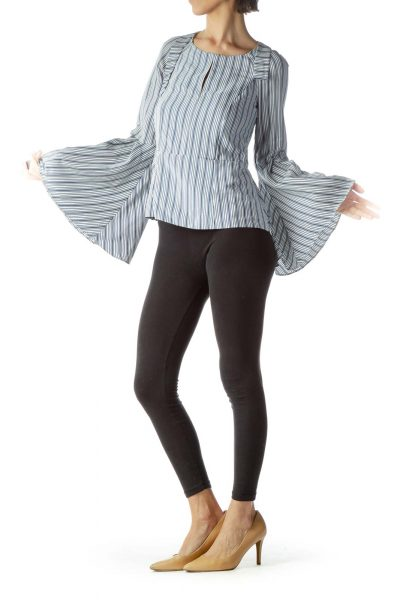 Blue White Striped Flared Long Sleeve Blouse