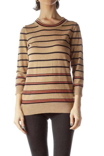 Beige Black Striped 100% Merino Wool Sweater