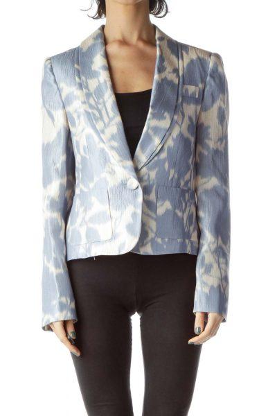 Blue Cream Tie-Die Silk Blazer