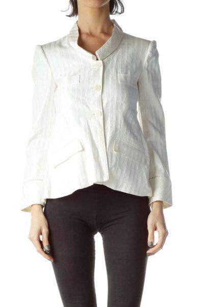 White Pinstripe Buttoned Blazer