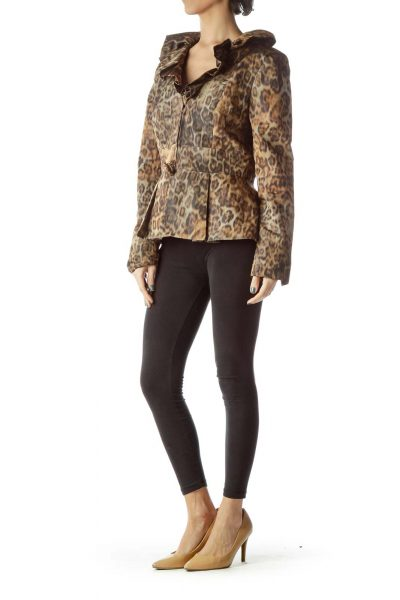 Brown Leopard Print Ruffle Collar Jacket