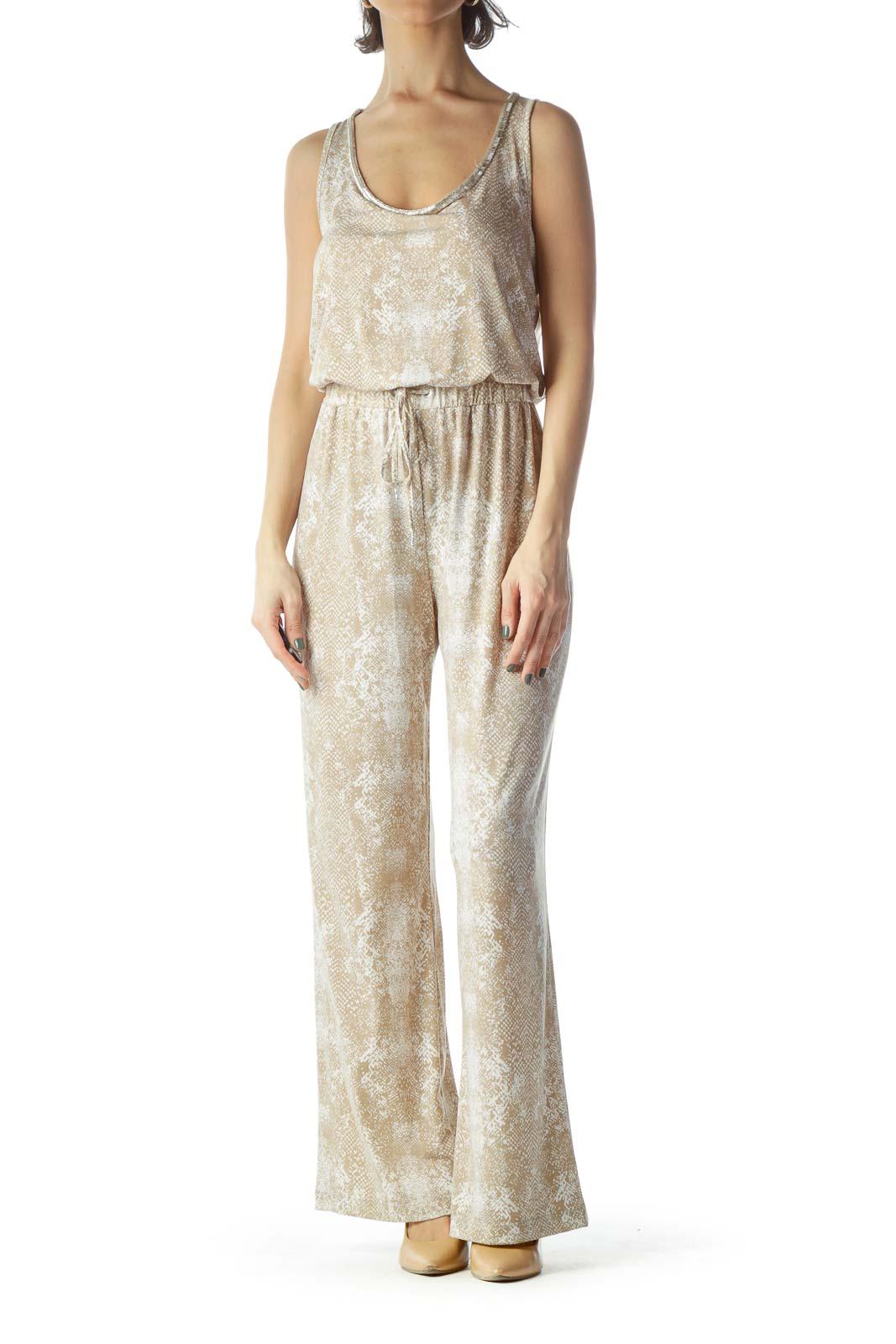 Beige White Round Embellished Print Jumpsuit
