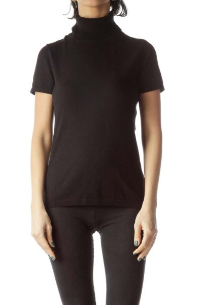 Black Turtle Neck Short Sleeve Knit Top