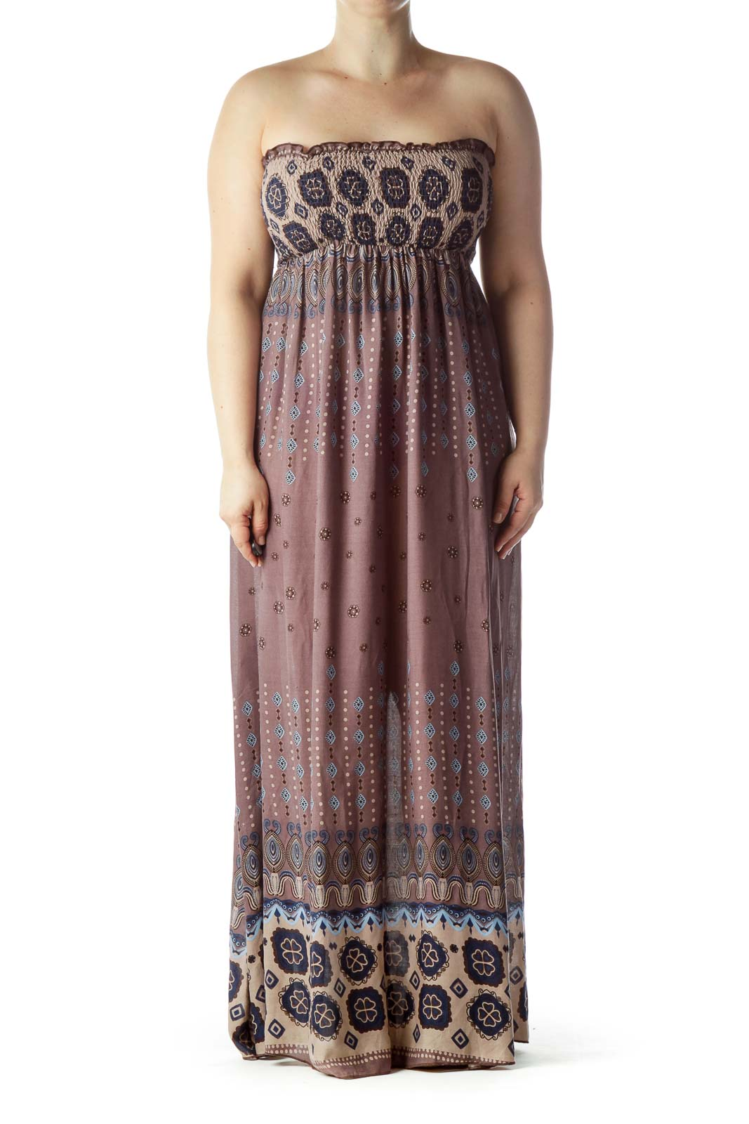 Brown Blue Strapless Printed Maxi Dress