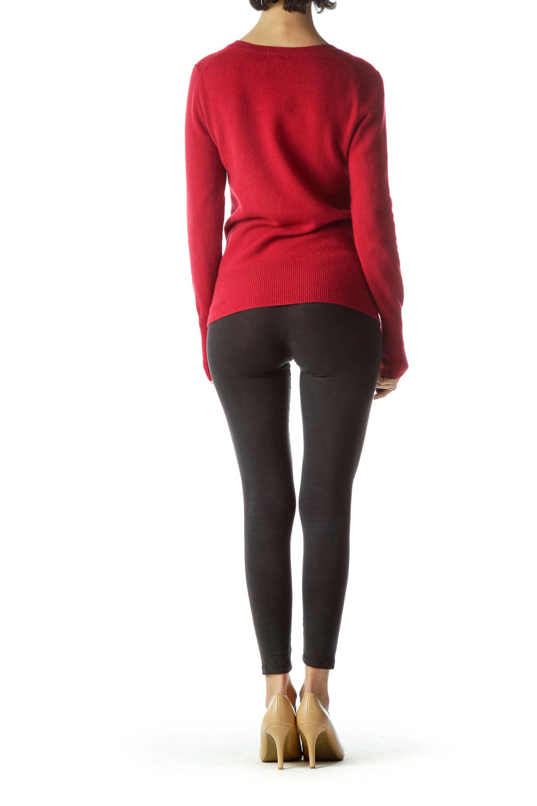 Red 100% Cashmere V-Neck Sweater
