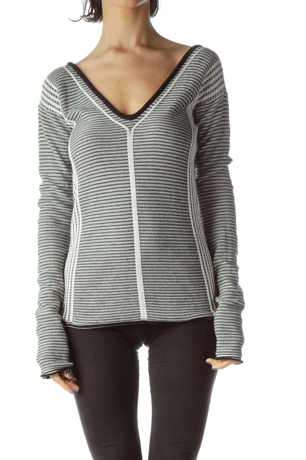 Black Cream Striped Textured Open Neck Knit Top