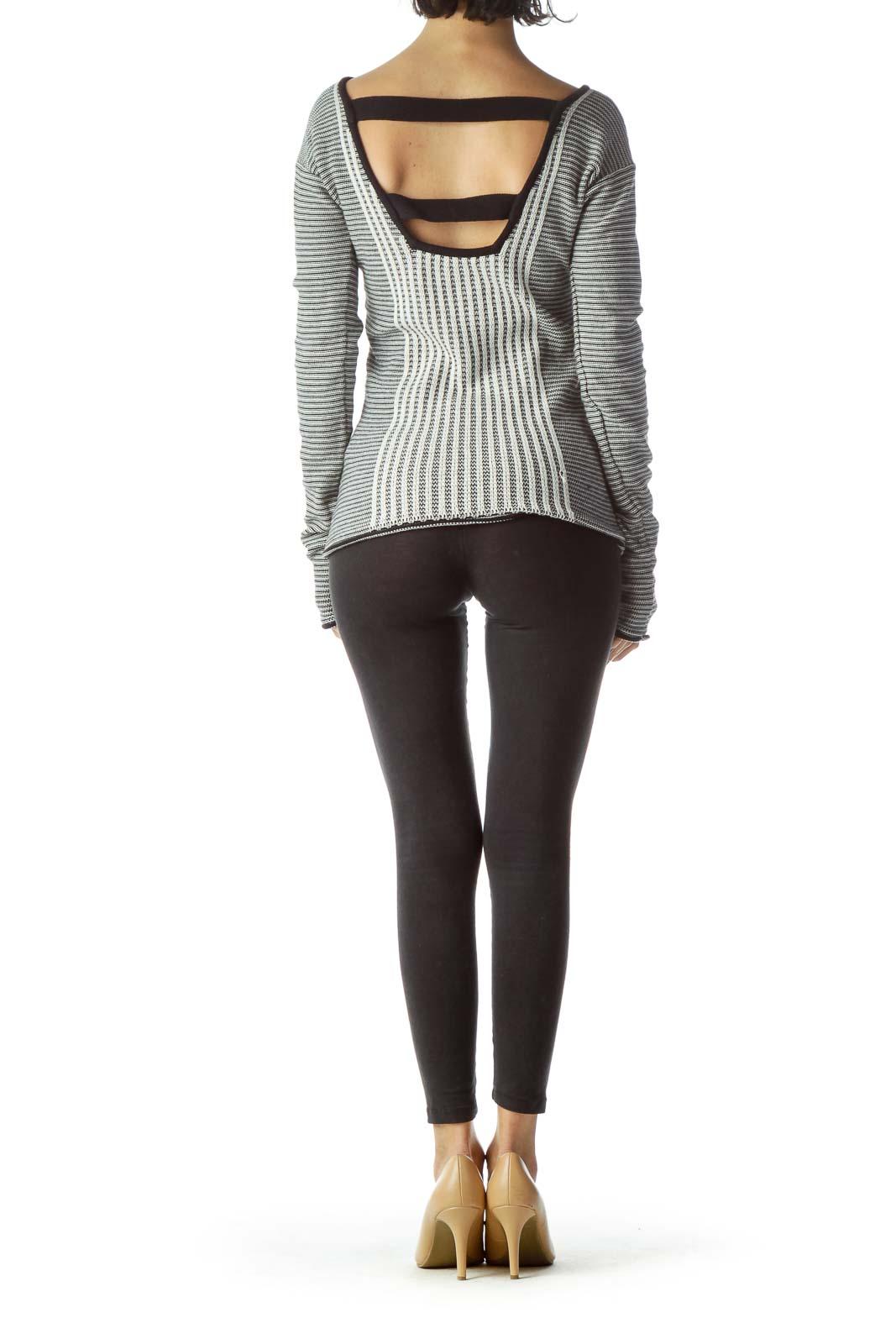 Black Cream Striped Textured Open Neck Knit Top