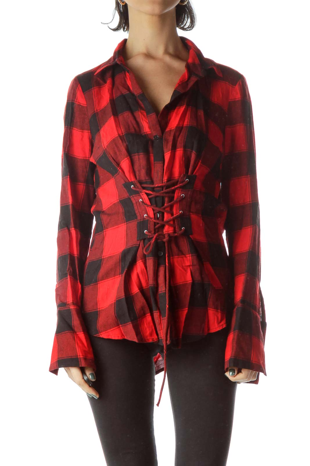 Red Black Checkered 100% Cotton Drawstring Shirt