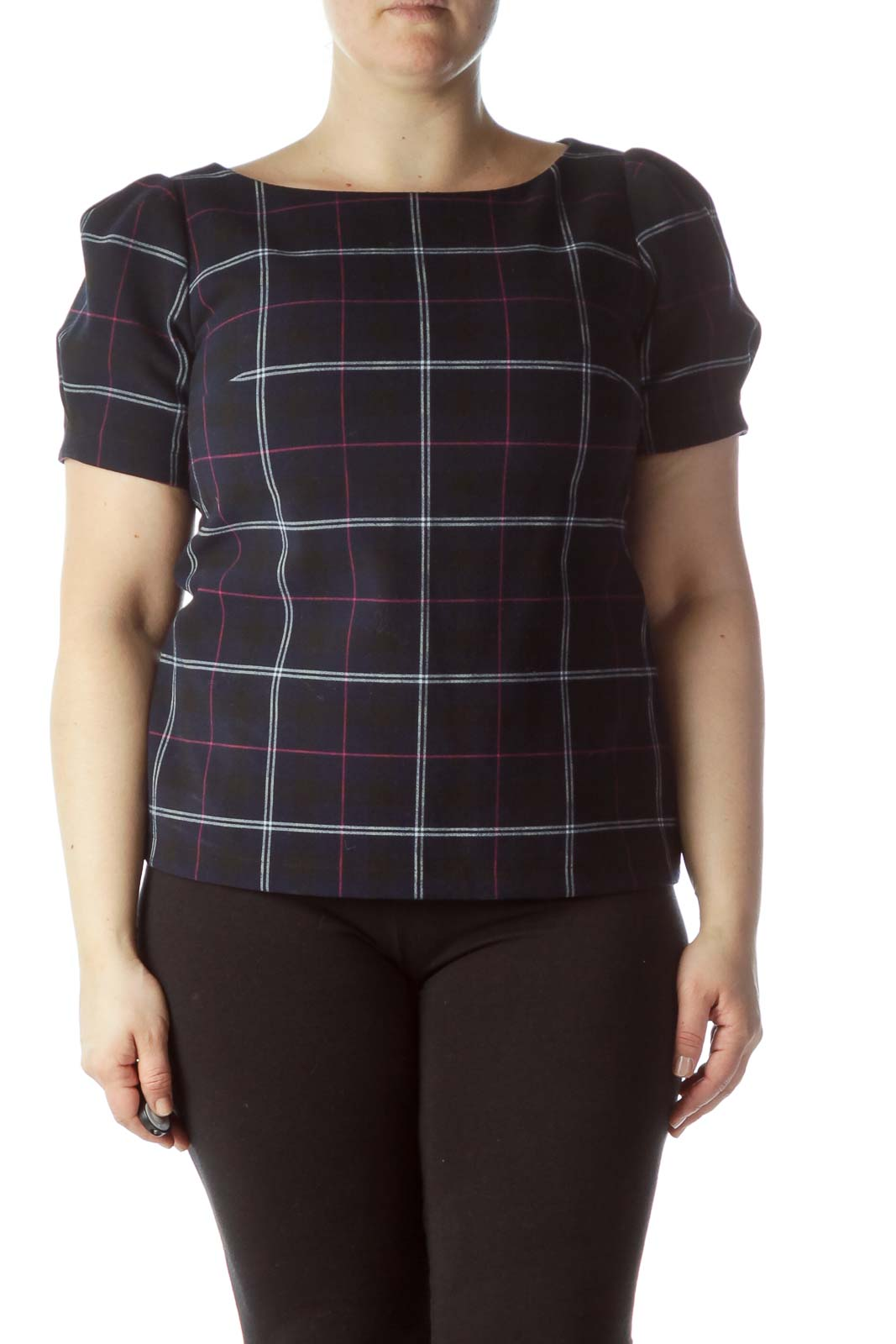 Navy Blue Pink White Plaid Heavy Knit Top