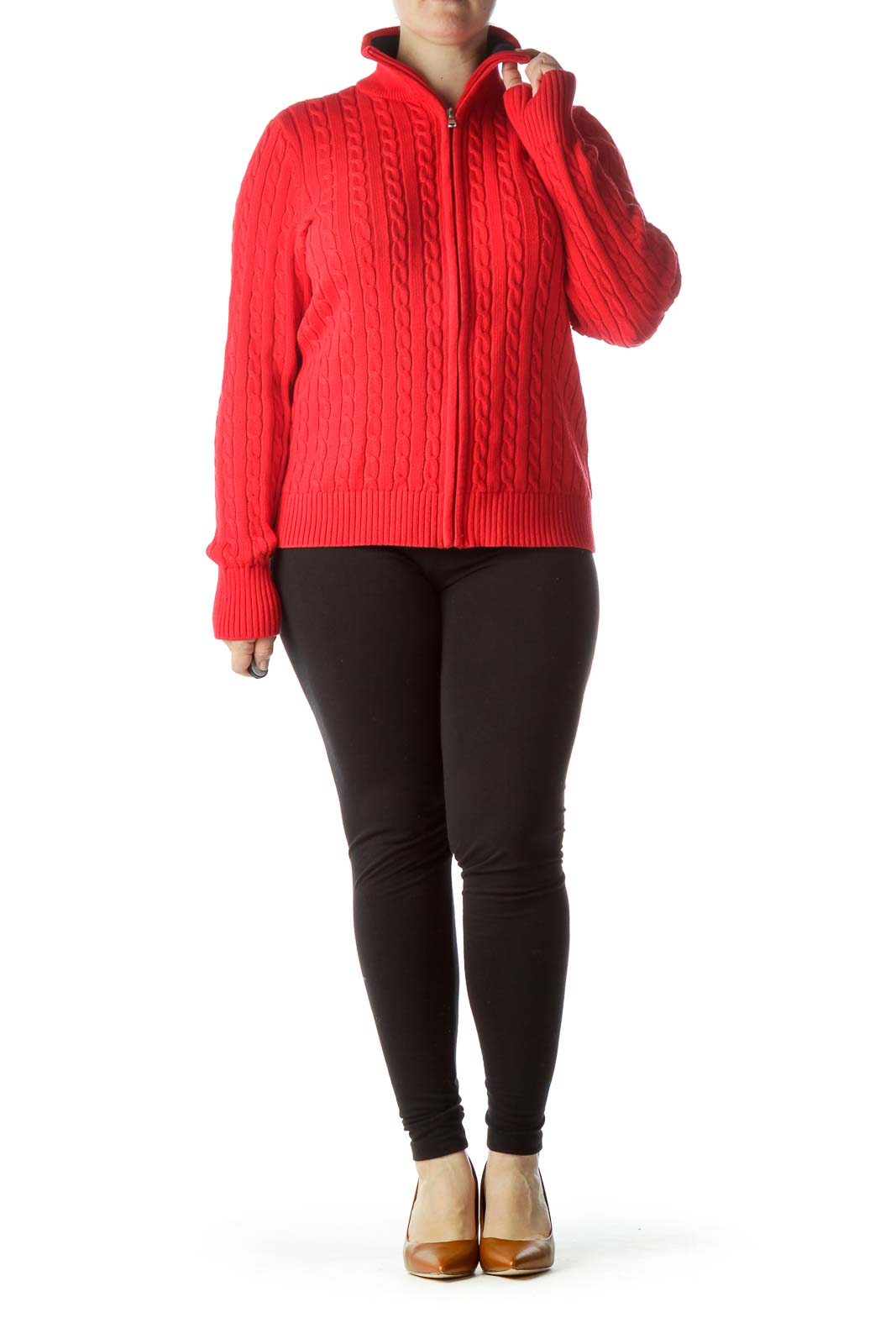 Red Zippered Cable-Knit 100% Cotton Sweater