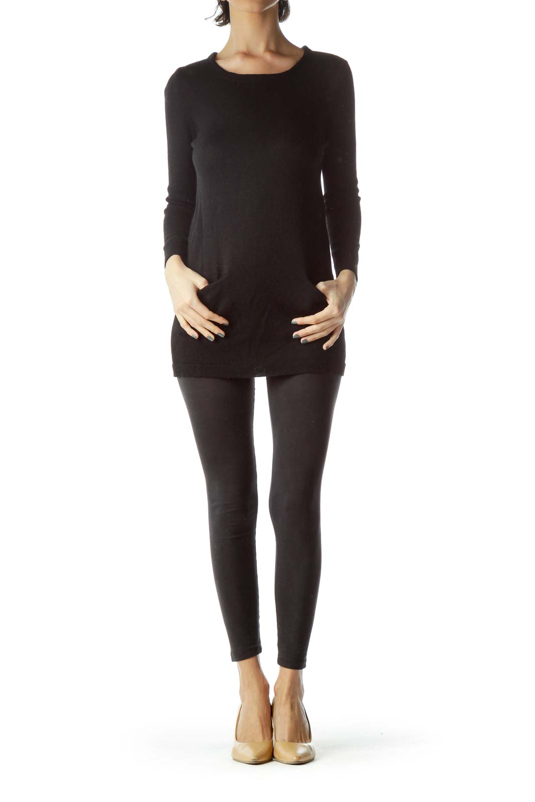 Black 100% Merino Wool Long Sweater