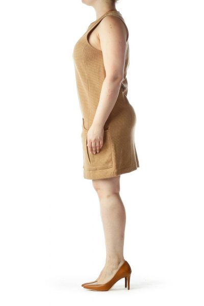 Beige Textured Sleeveless Pocketed Work Dress