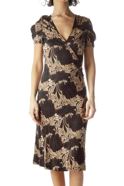 Black Brown Floral Print Wrap Dress