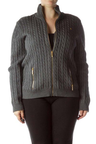 Gray Gold Zippers 100% Cotton Cable-Knit Sweater