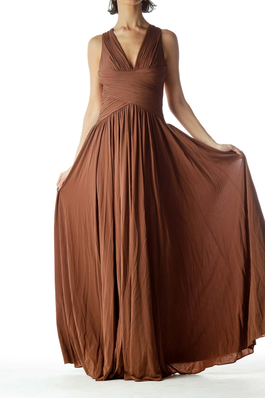 Brown V-Neck Sleeveless Flared Dress