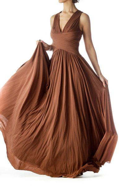 Brown V-Neck Sleeveless Flared Dress