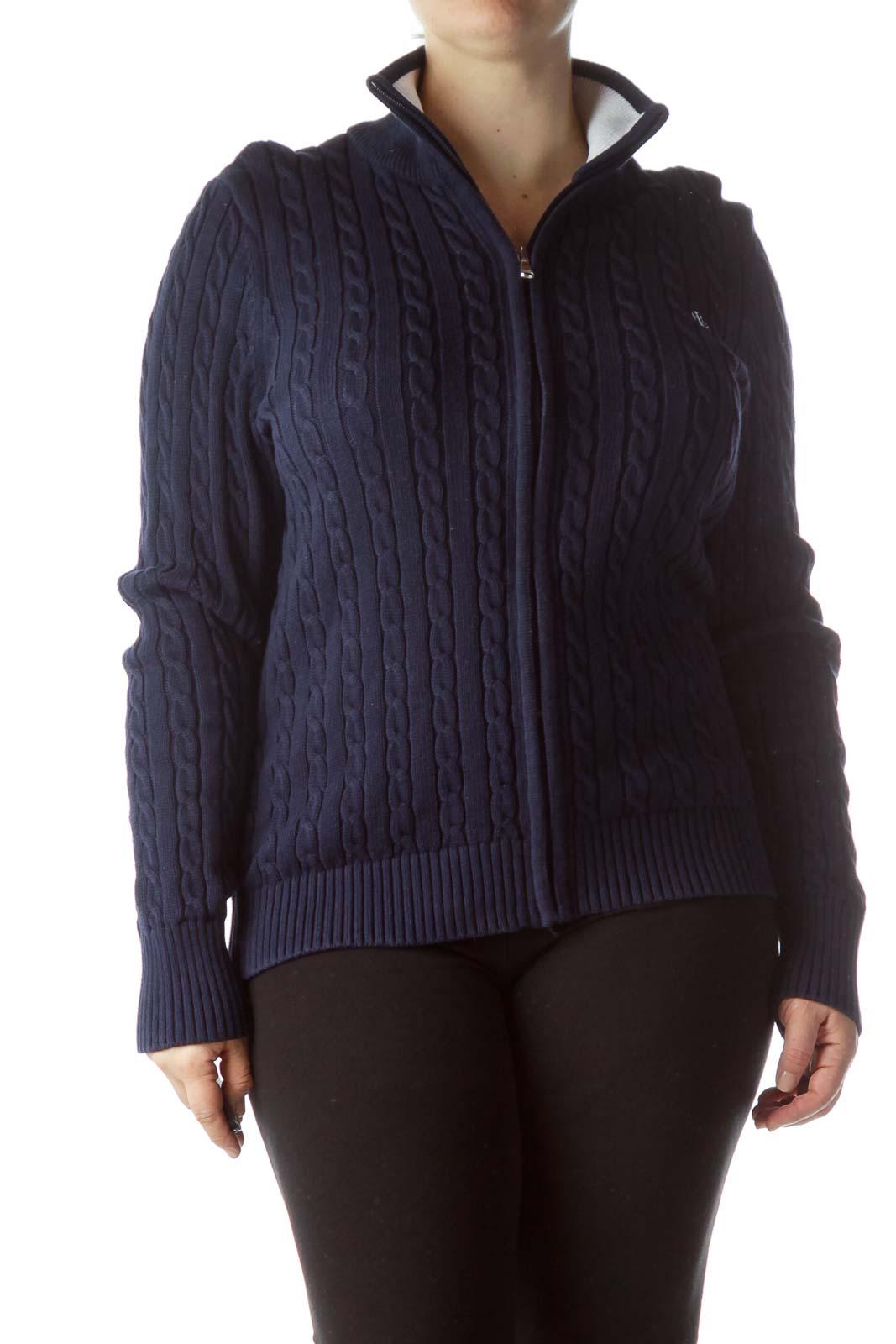 Navy Blue Zippered 100% Cotton Sweater