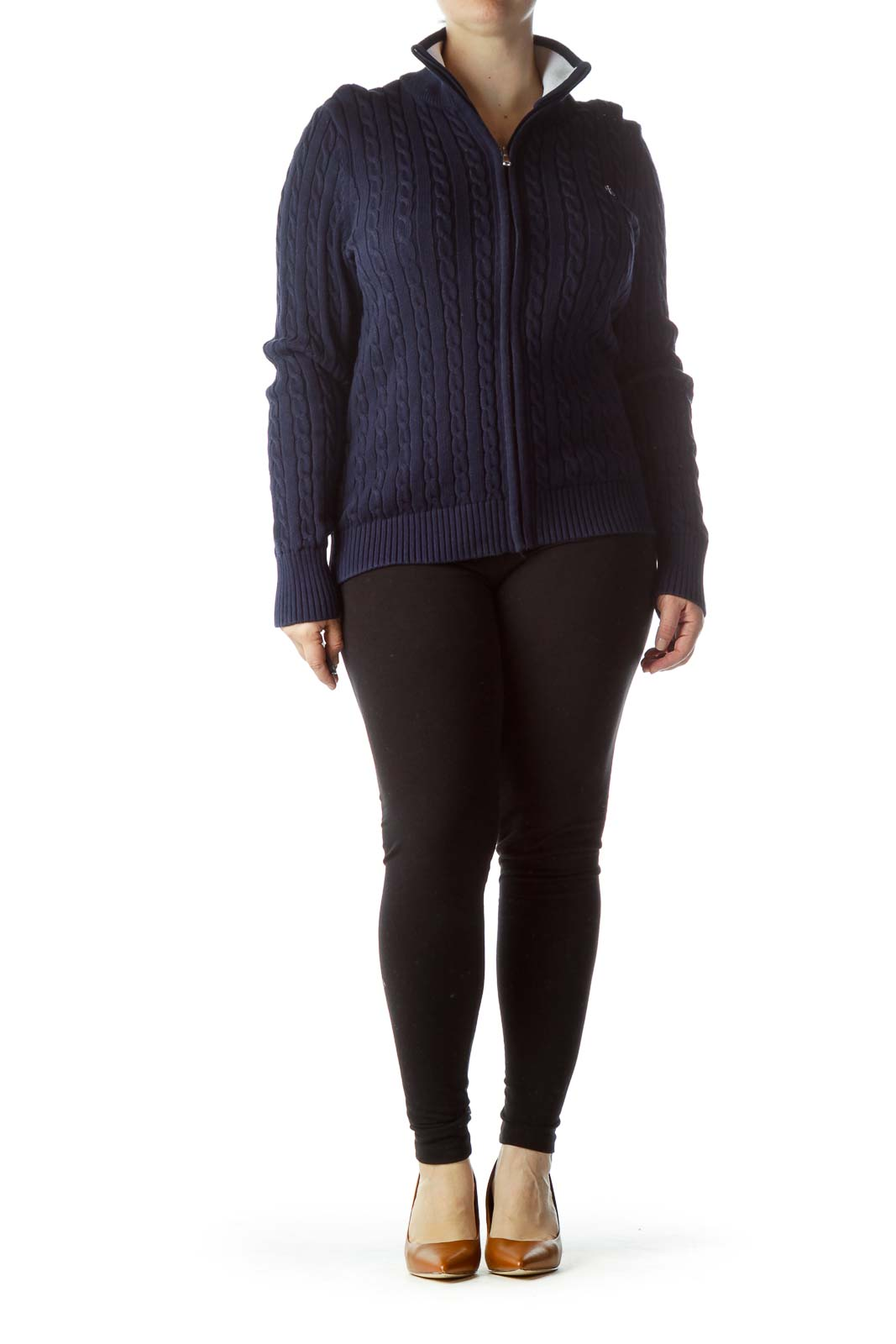 Navy Blue Zippered 100% Cotton Sweater