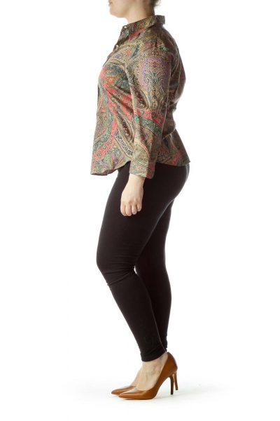 Multicolored Paisley Print 100% Cotton Shirt