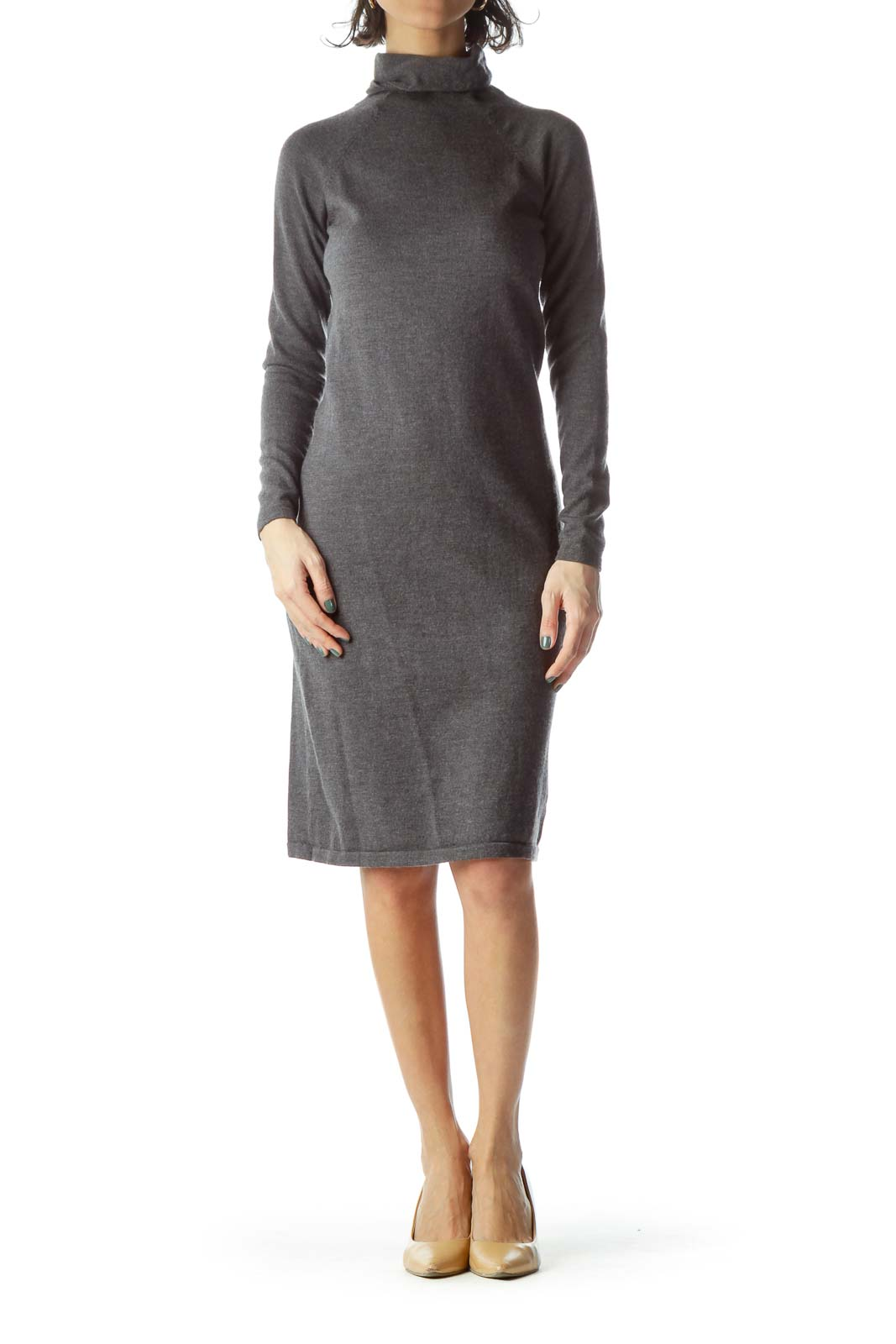 Gray Turtle Neck Long Wool Dress
