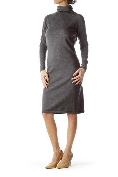 Gray Turtle Neck Long Wool Dress