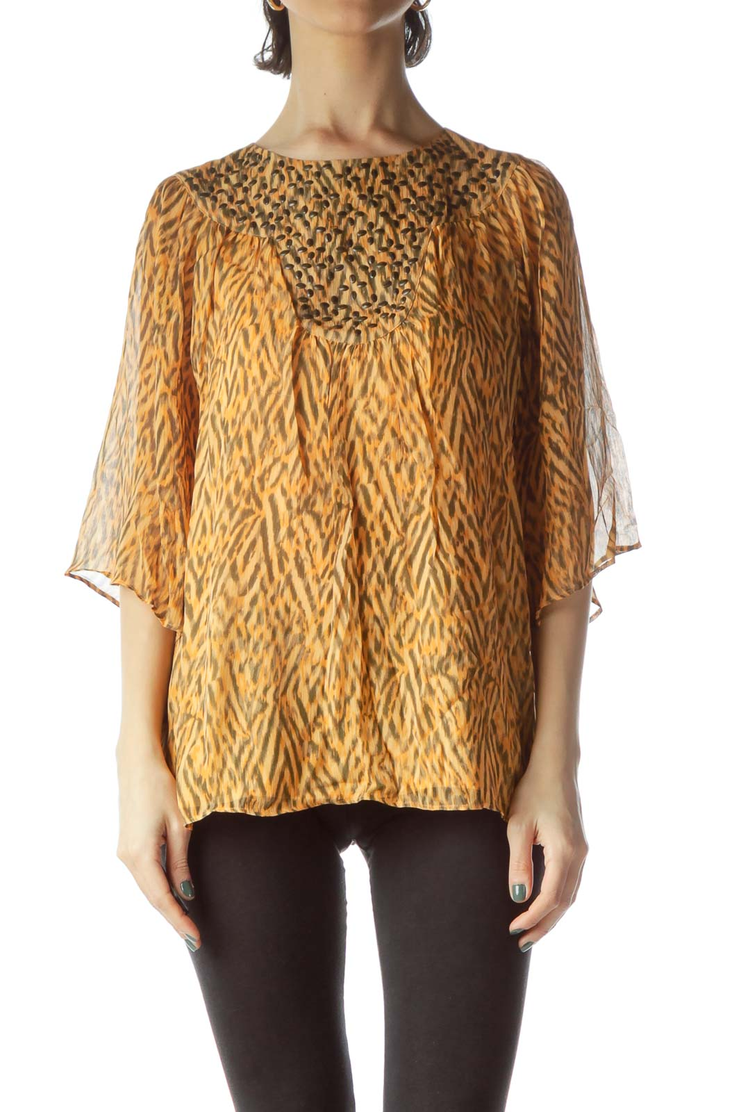 Orange Print Embellished Neck Flared Blouse