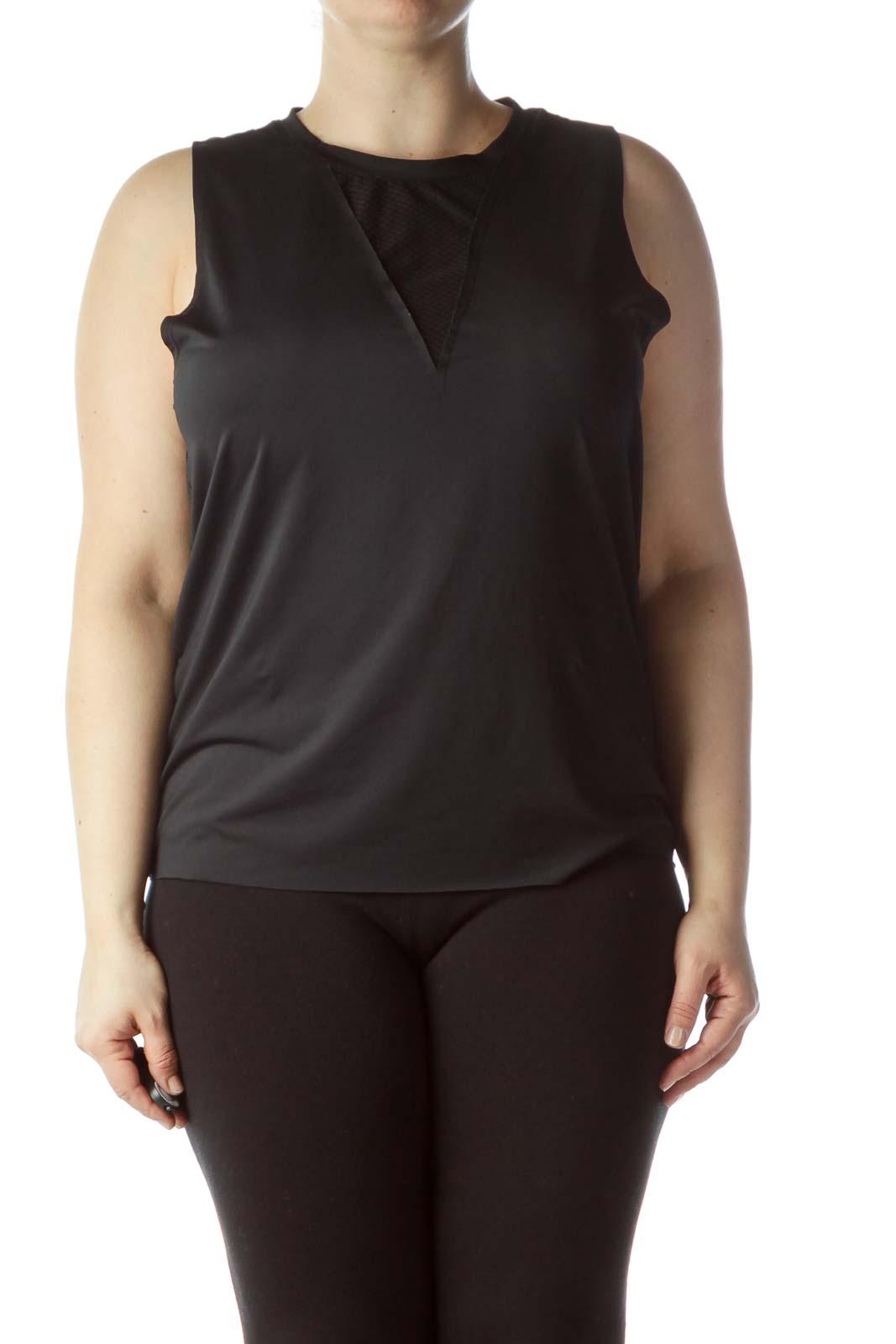 Black Round Neck Sleeveless Yoga Top