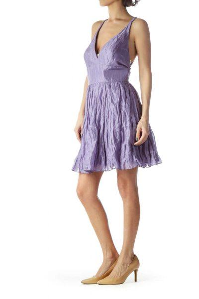 Lilac Spaghetti Strap Puffy Flared Dress