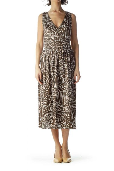 Brown Cream Printed 100% Cotton Belted Dress