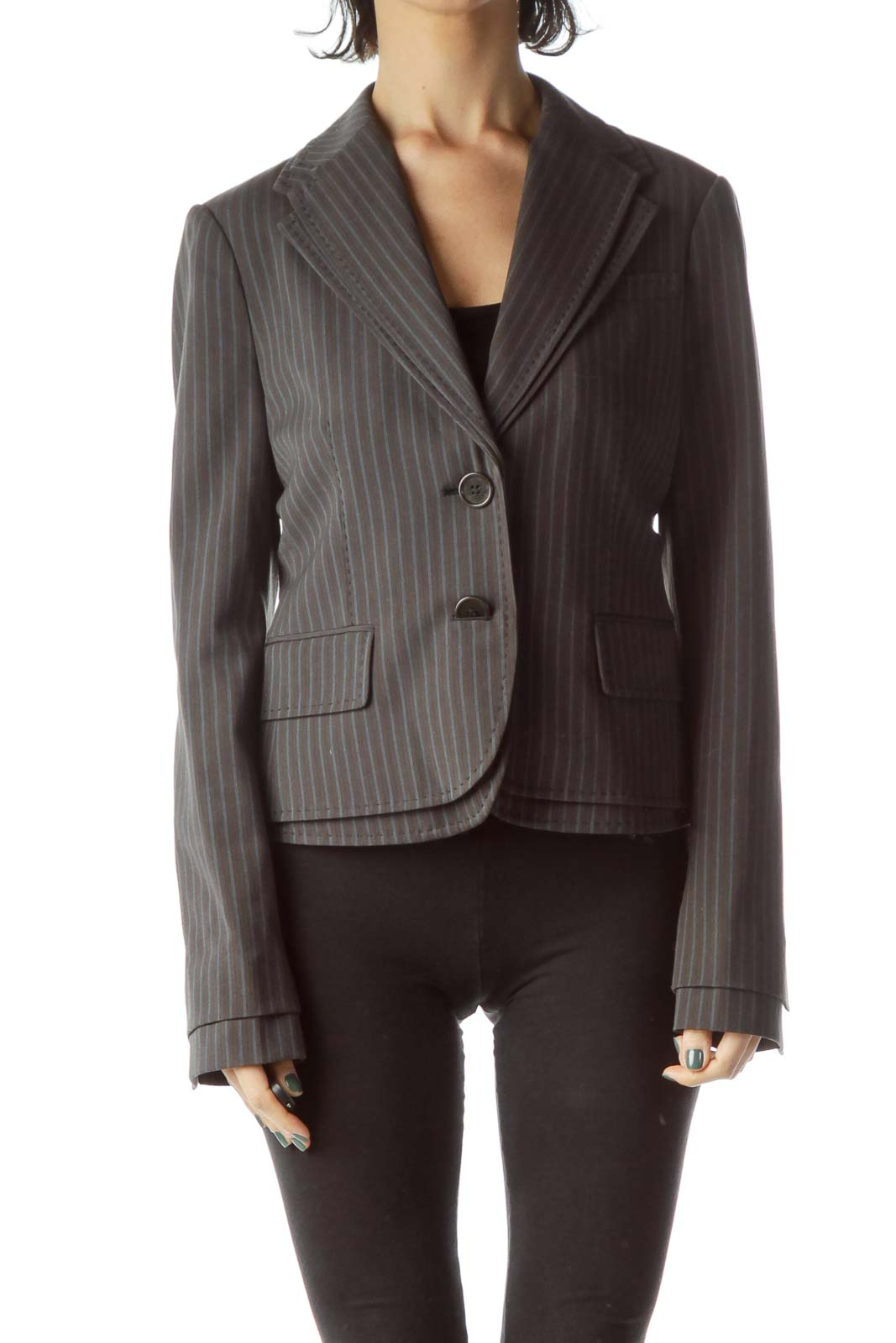 Gray Pinstripe Buttoned Blazer