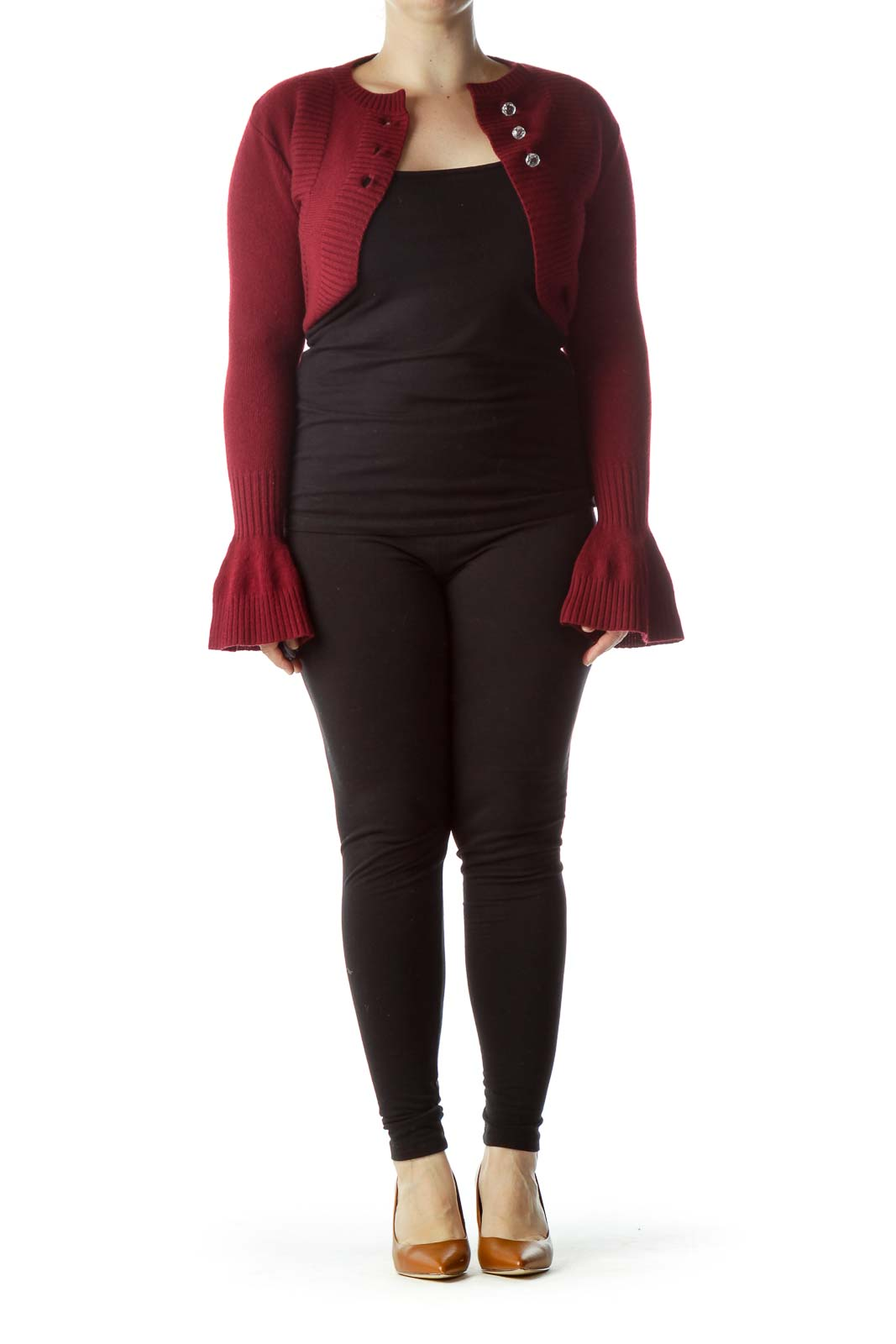 Burgundy 100% Merino Wool Bolero Sweater