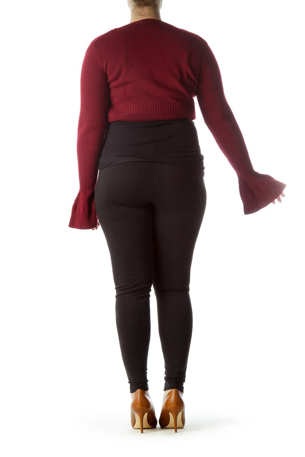 Burgundy 100% Merino Wool Bolero Sweater