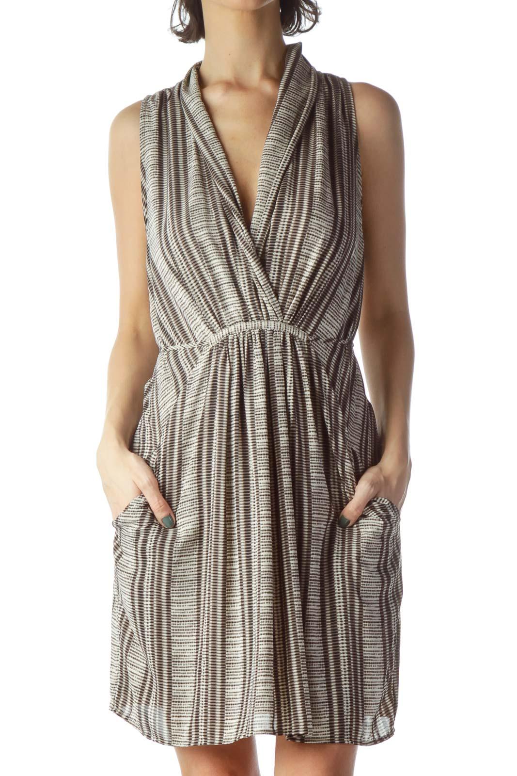 Brown Black Beige Print V-Neck Dress