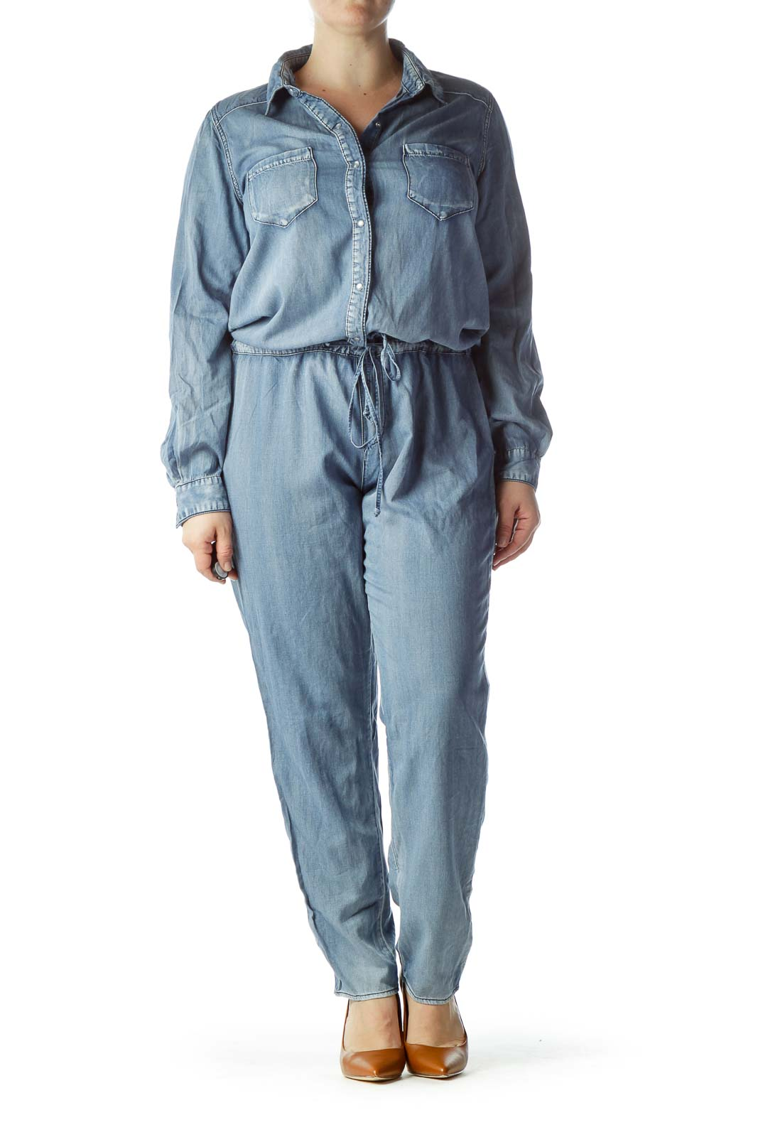 Blue Long Sleeve Jumpsuit