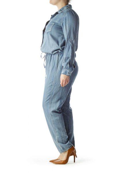 Blue Long Sleeve Jumpsuit