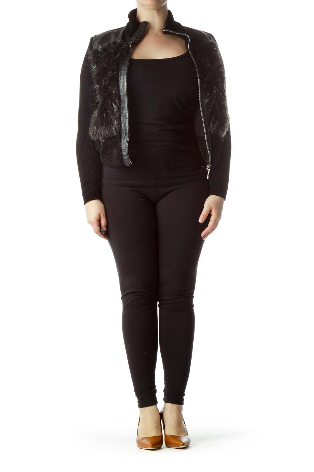 Black Zippered Leather and Faux-Fur Jacket