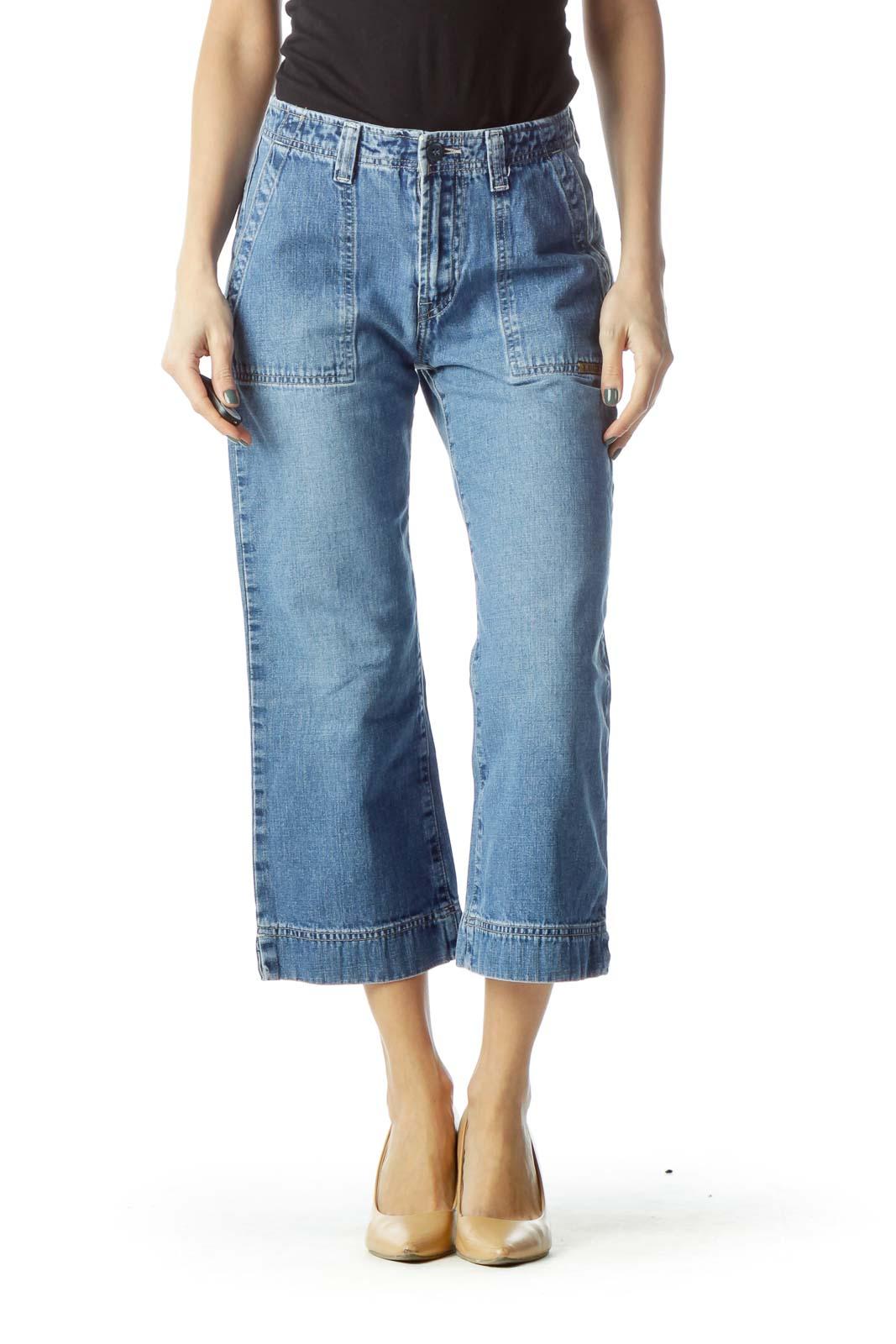 Blue Wide-Leg Cropped Denim