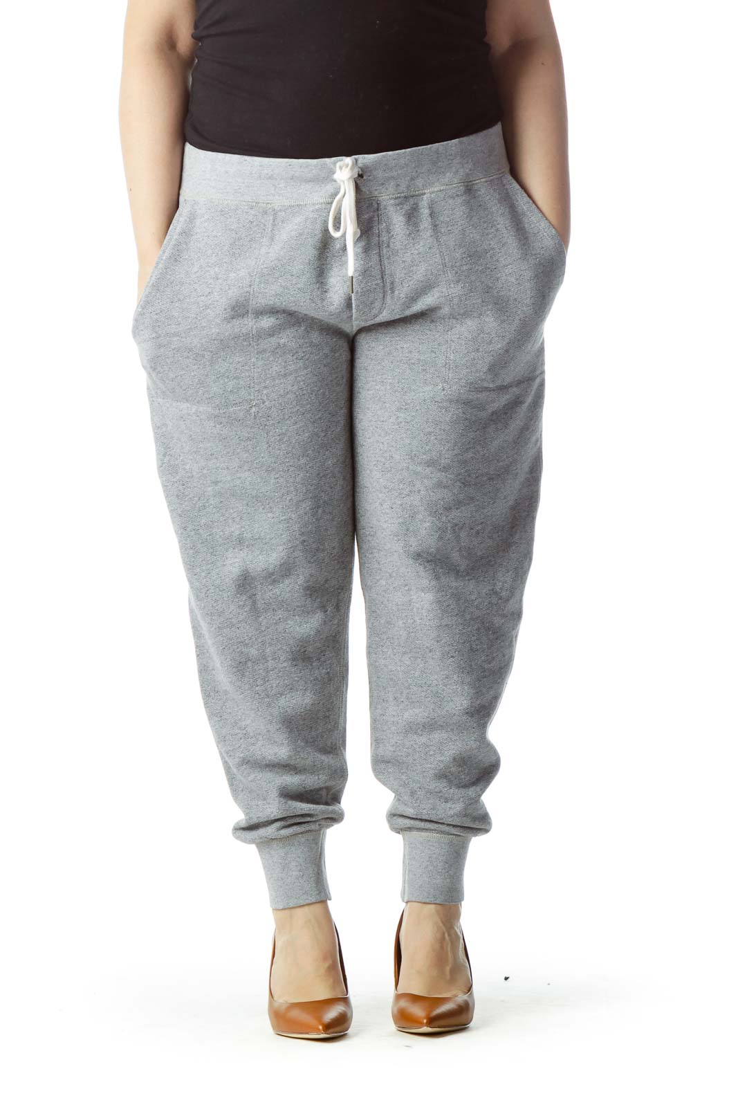 Gray Mottled Loop Back Fleece Pants