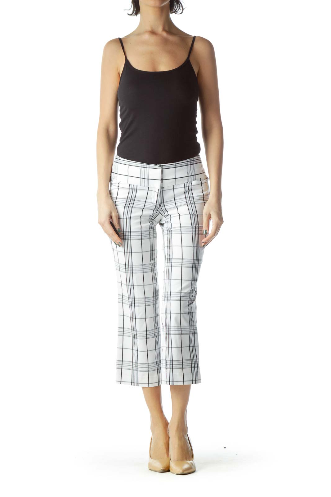 White Checkered Cropped Pant