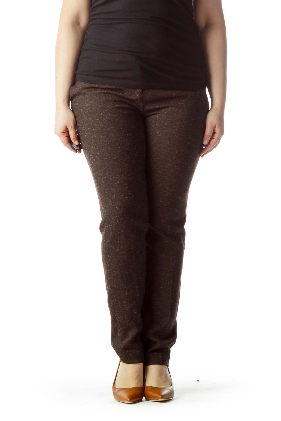 Brown Mottled Straight Leg Pants