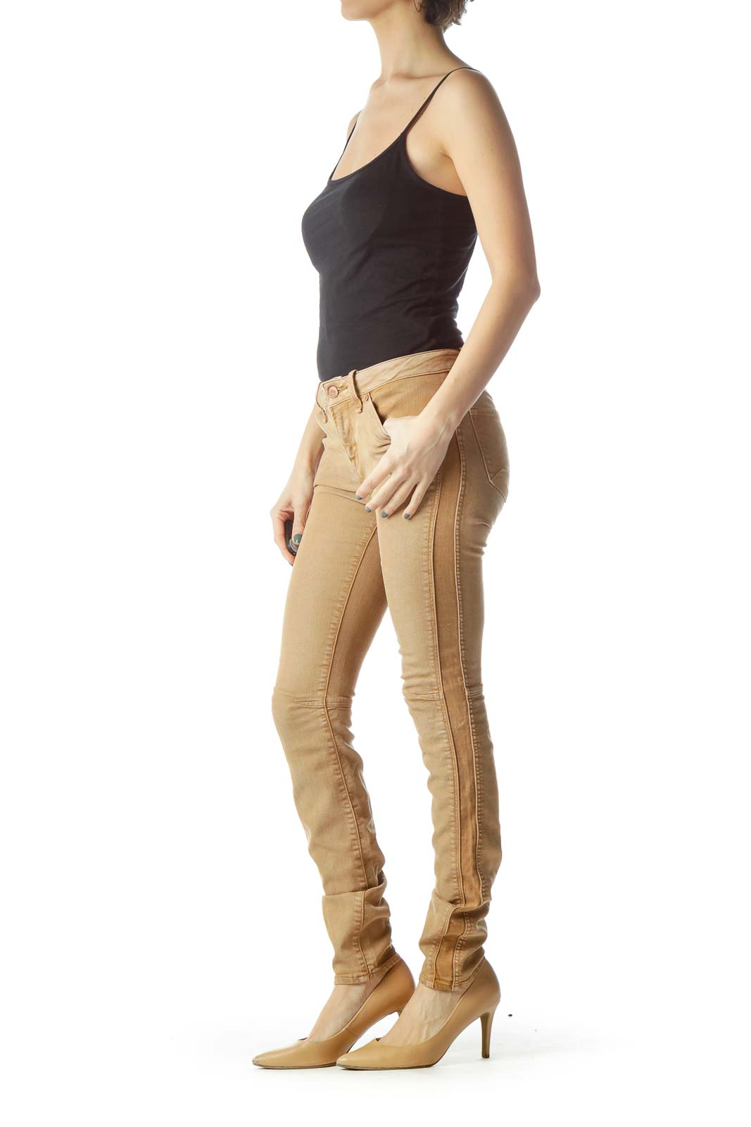 Brown Lyocell Skinny Jeans