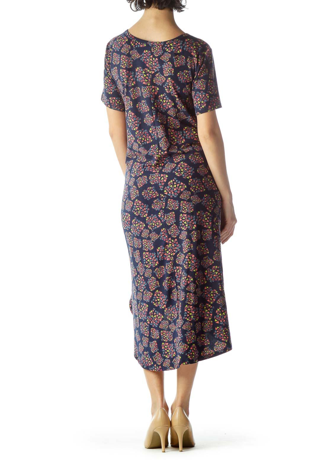 Multicolored Geometric Print Jersey-Knit Dress