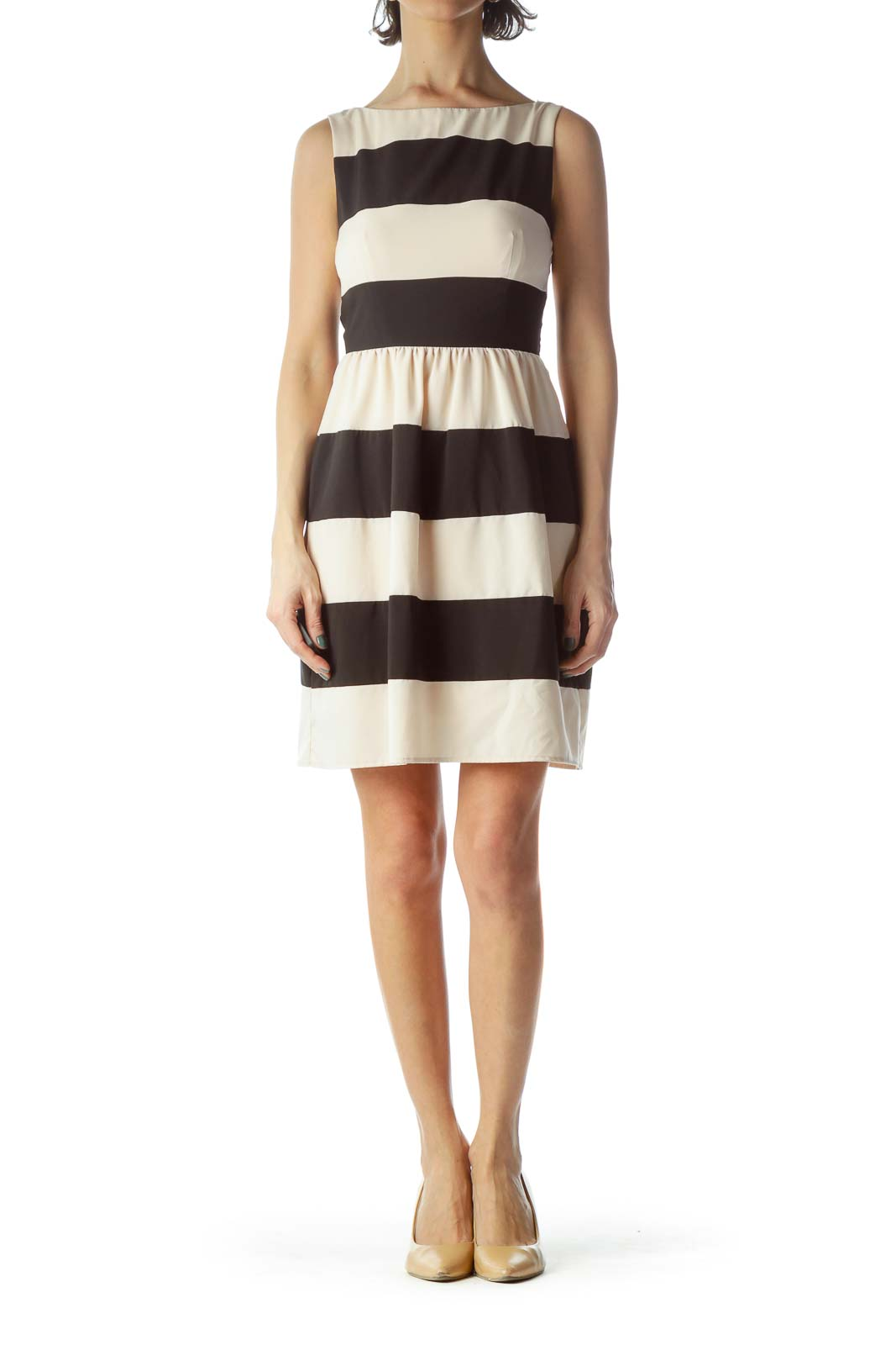 Black Beige Striped Dress