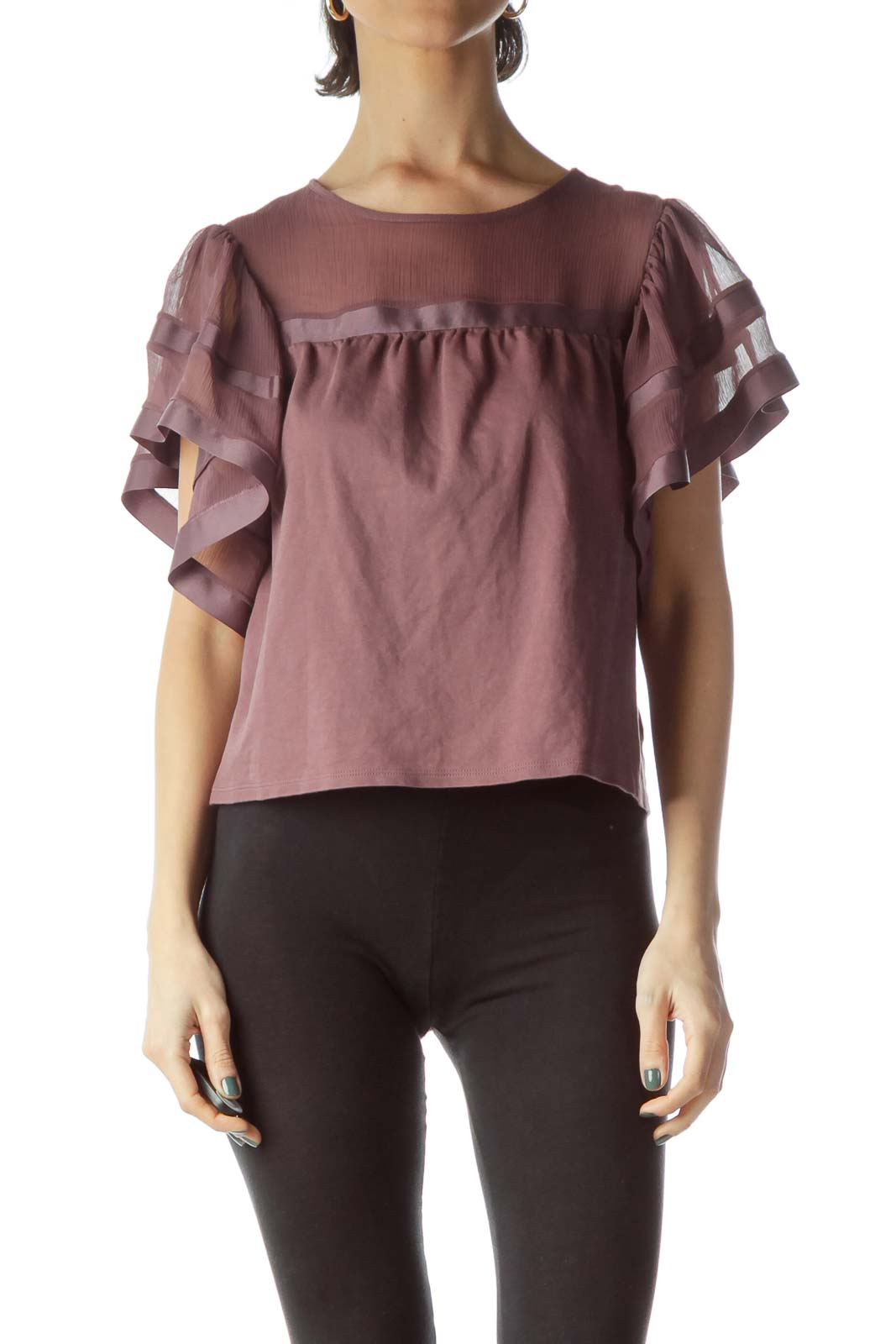 Purple Flared Chiffon Sleeves Blouse