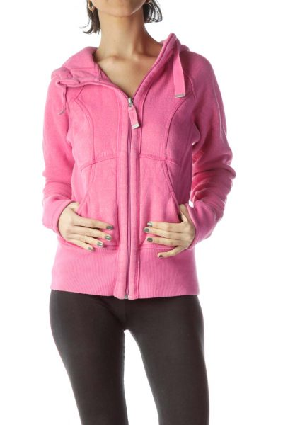 Pink Stretch Zippered Up Hooded Jacket
