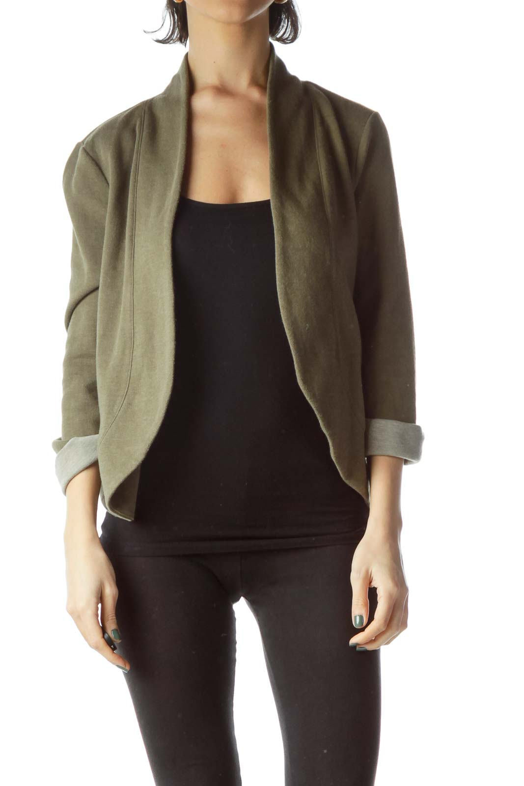 Army Green Knit Rolled-Up Sleeves Cardigan