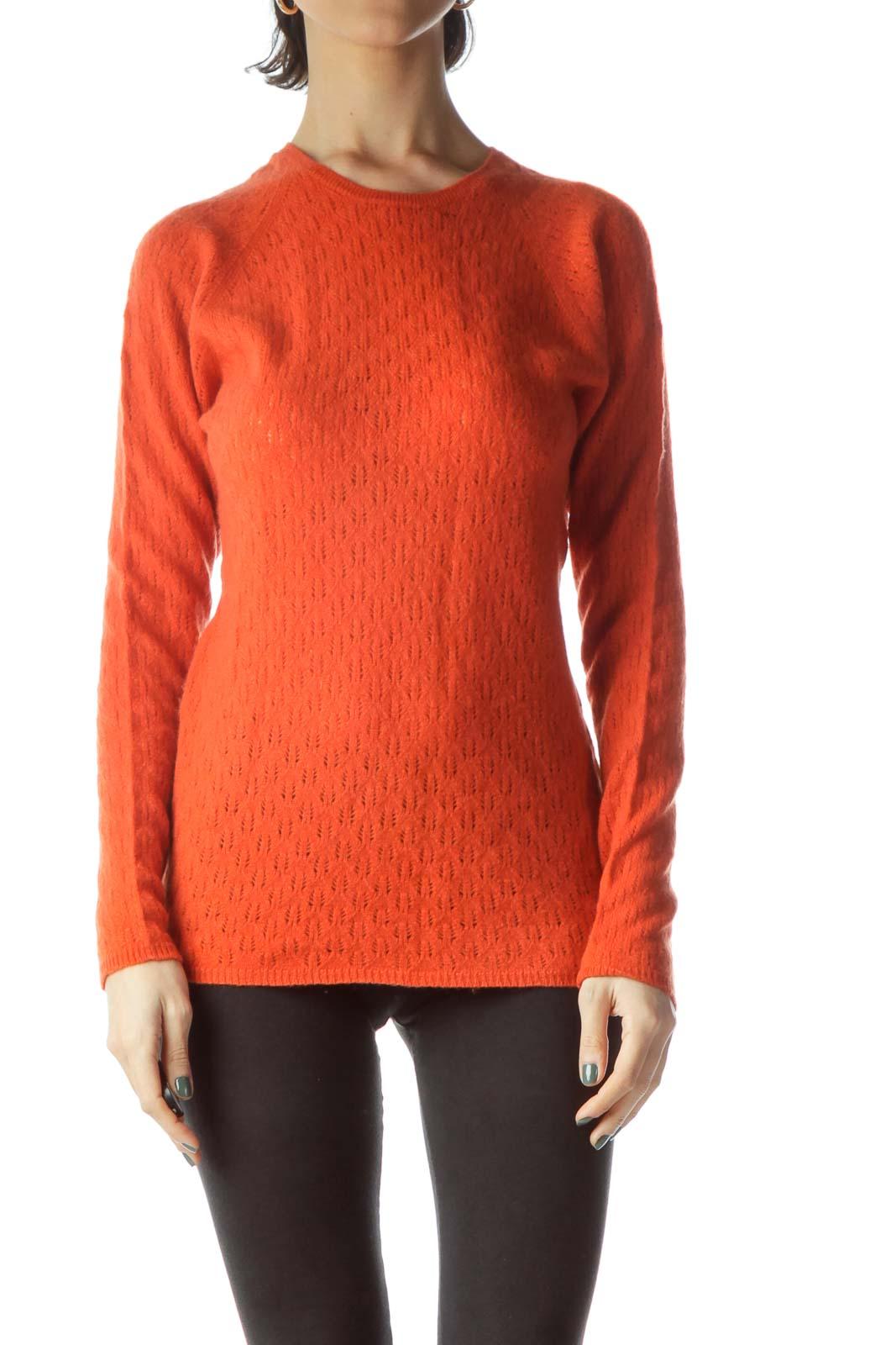 Orange 100% Cashmere Long Sleeve Sweater