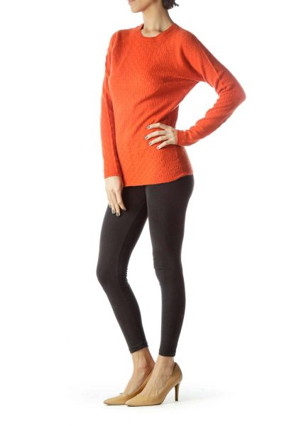 Orange 100% Cashmere Long Sleeve Sweater