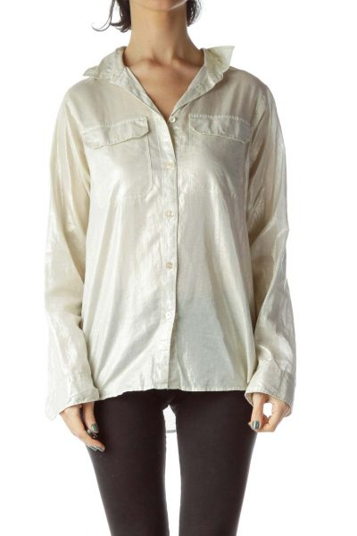 Cream Metallic Pocketed 100% Cotton Shirt