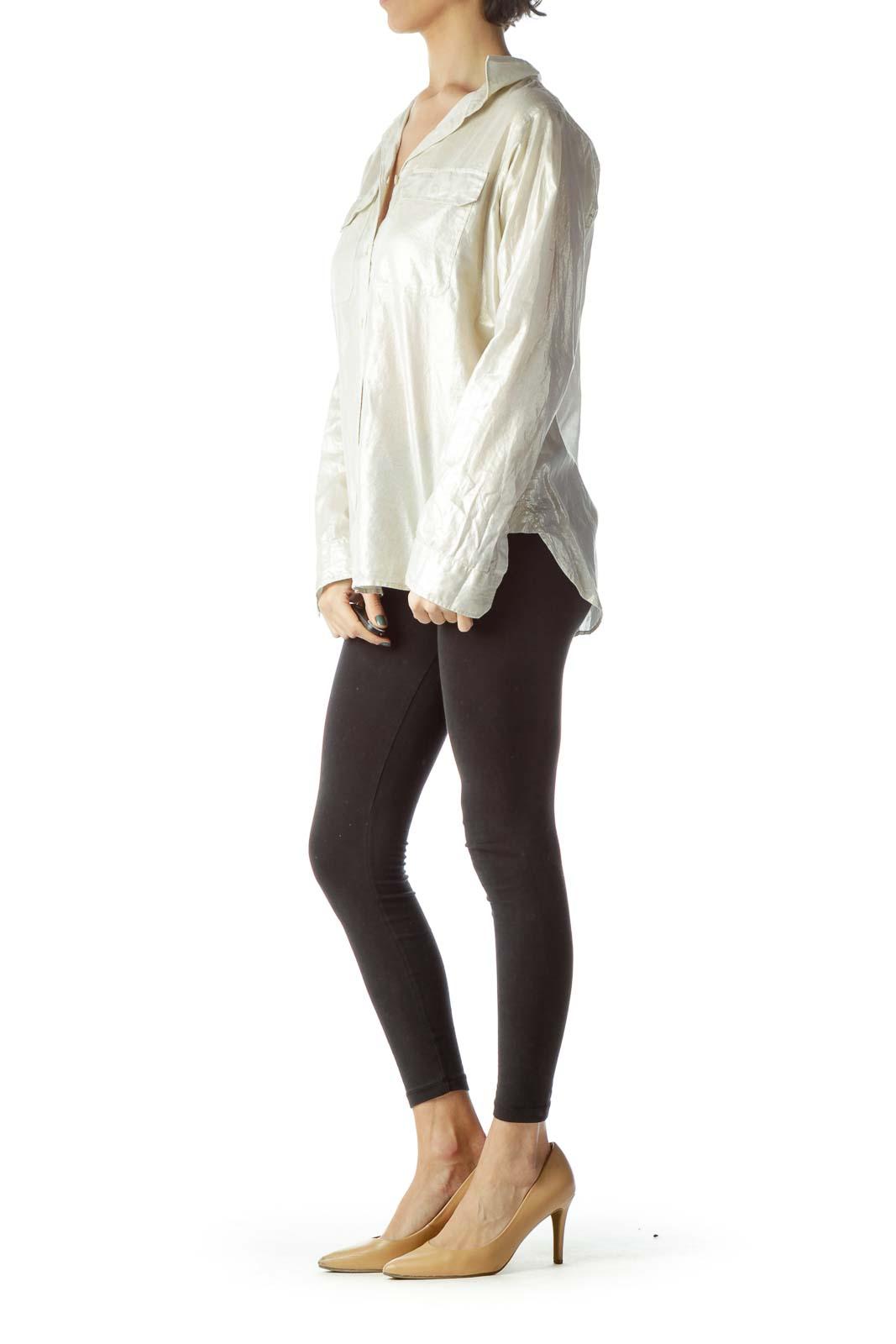 Cream Metallic Pocketed 100% Cotton Shirt